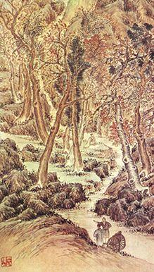 (Korea) Landscape by Pyoam Gang Se-hwang (1713- 1791). ca 18th century CE. color on paper. Korean painting.