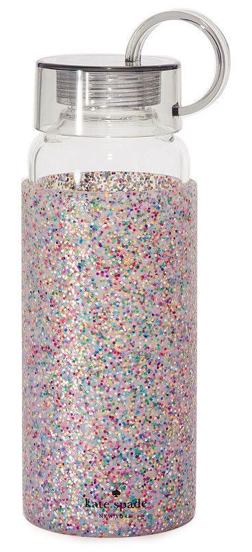 multi glitter water bottle by kate spade new york. A glitter filled, rubberized cuff lends playful style to this clear Kate Spade New York water bottle. Screw on lid wi...
