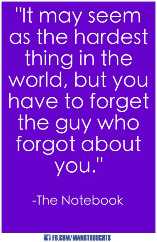 It May Seem As The Hardest Thing In The World, But You Have To Forget The  Guy Who Forgot About You. The Notebook Quotes