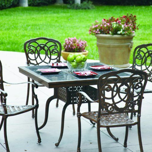 Darlee Florence 4 Person Cast Aluminum Patio Dining Set With Granite Top  Table   Mocha