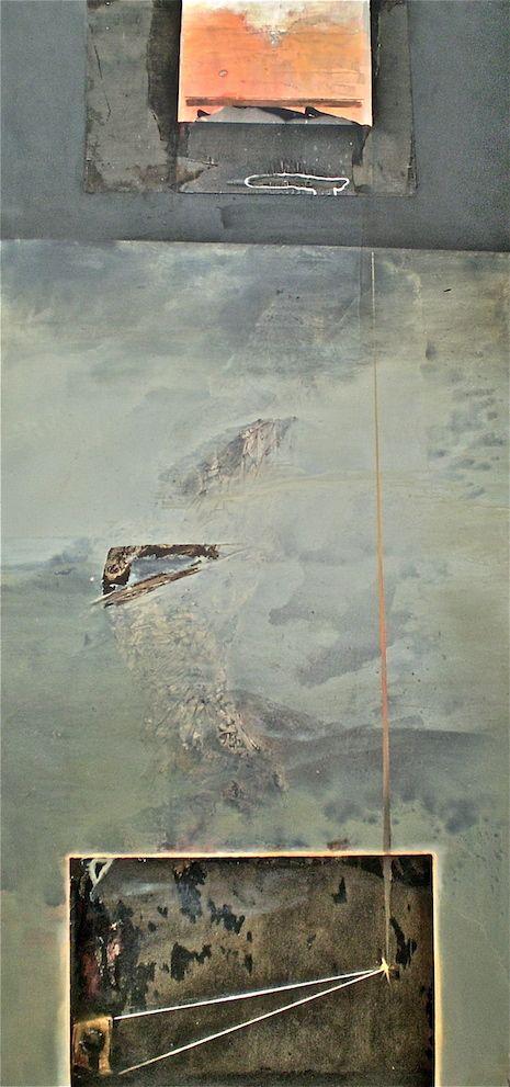 ELAINE d'ESTERRE - Igneous 2, 2004, mixed media on canvas 214x108 cm by Elaine d'Esterre at http://elainedesterreart.com and http://www.facebook.com/elainedesterreart/ and http://instagram.com/desterreart/
