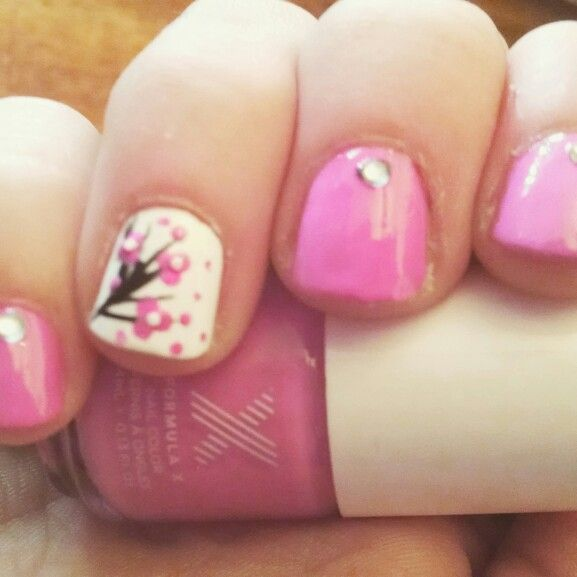 Cherry blossom nails i did on my sister
