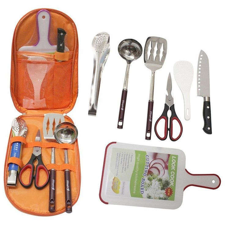 Camp Kitchen Metal Camping Cooking Utensil Food Knife Carry Case Cutting Board #RunningTrade