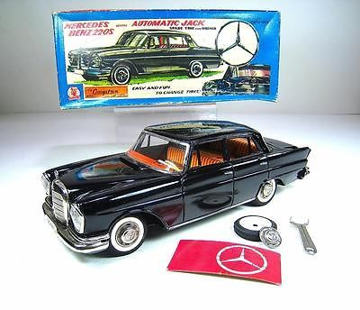 SSS SHIOJI Tin Friction 1960 Mercedes Benz 220 Auto Jack Car 12""