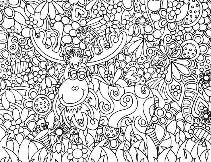 Free Printable Difficult Grown Up Coloring Pages Christmas Creative Leisure Activities Beautiful Drawings Santa Clauss Reindeer Drawing