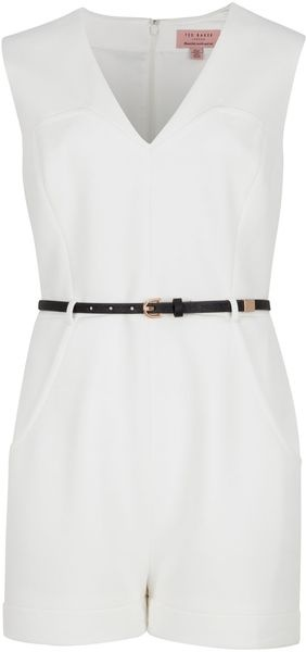 TED BAKER Keekey Waffle Jersey Playsuit - Lyst