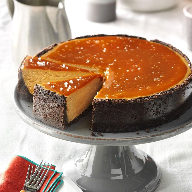 Salted Caramel Cappuccino Cheesecake Recipe -I spent 16 years living in Seattle and became a coffee junkie! I had to relocate across the country, so I created this cheesecake with the flavors of salted caramel, coffee and espresso to lift me up on those days when I feel blue about leaving Seattle, which is one of the great coffee destinations of the world. —Julie Merriman, Cold Brook, New York