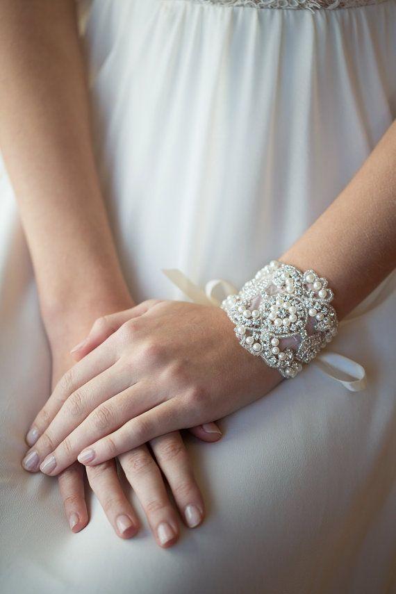 Wedding Bracelet Bridal Jewelry Rhinestone Pearl Cuff Ribbon