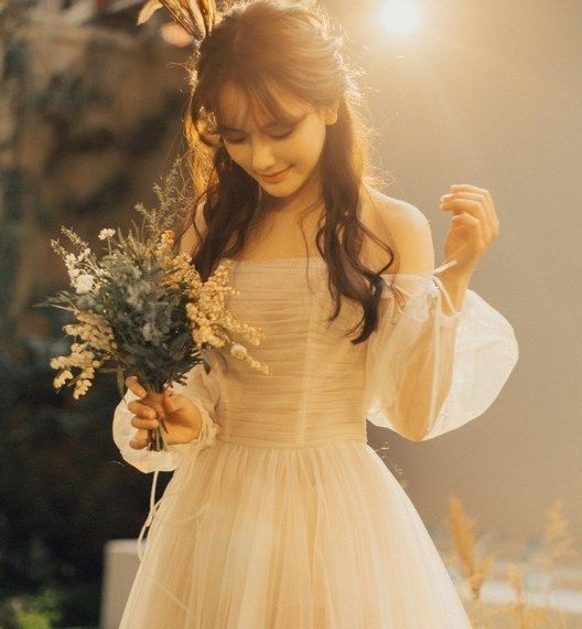 복고풍 촬영 라이트 여단 간단한 결혼식 초상화 photography 졸업 드레스 워드 어깨 브라의 MORI GIRL 센학과