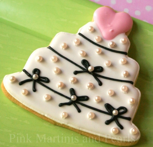 Pink Martinis And Pearls Decorated Wedding Cookies