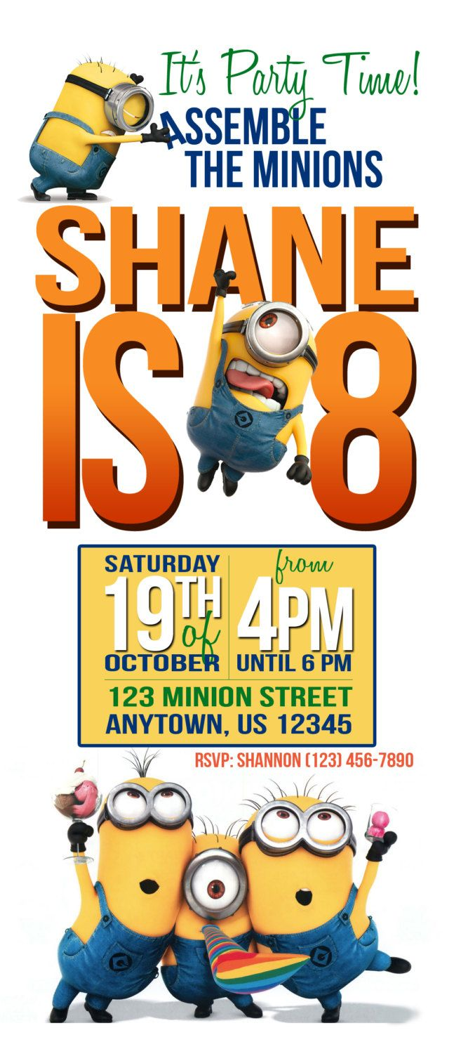 Minions Birthday Party Invitation by lifeonpurpose on Etsy, $5.00