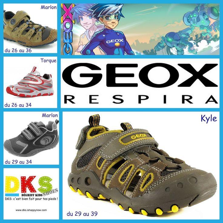 Arrivage GEOX sandales et baskets garçon :  sandales : Kyle - du 29 au 39 - à partir de 45€ (au lieu de 64,95€) Marlon - du 26 au 36 - à partir de 49€ (au lieu de 68,95€)  baskets : Torque - du 26 au 34 - à partir de 49€ (au lieu de 68,95€) Marlon - du 29 au 34 - à partir de 49€ (au lieu de 68,95€)    DKS Grenoble - Chaussures pour enfants à prix dégriffés