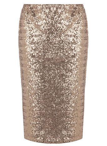 Rose Gold Sequined Pencil Skirt