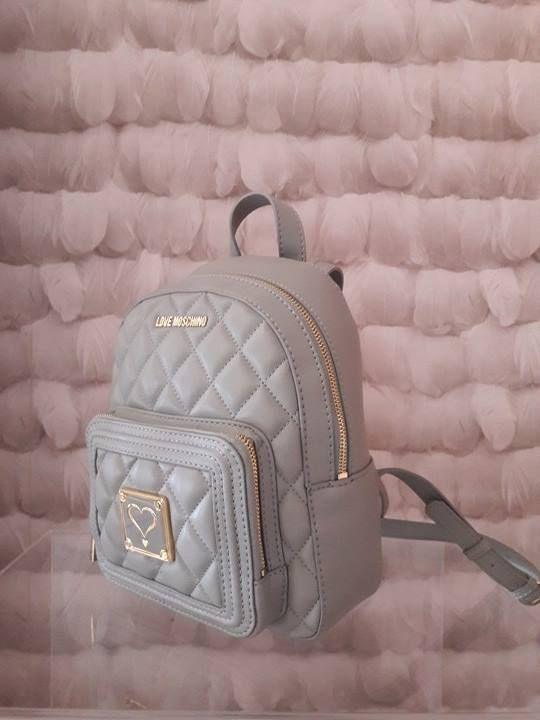 LOVE MOSCHINO PASTEL GREY QUILTED BACKBAG