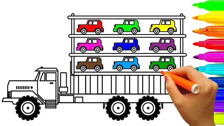 Learn Colors for Kids with Car Carrier Monster Truck Coloring Book Pages...