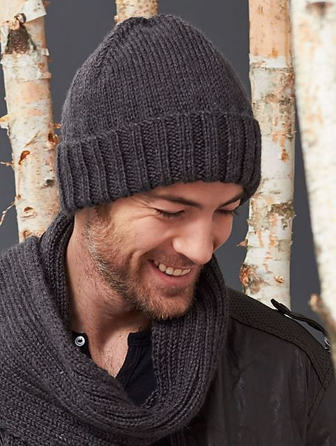 Free Slouchy Knit Hat Pattern : Mens Basic Hat, free pattern by Yarnspiration hand knitted Pinterest...