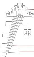"""Un """"Temu """"  árbol relacionado con los poderes del agua . Y el diagrama inferior nos muestra un """"Rayen"""" (flor que alude a las posibilidades de fecundación de la mujer ).  En la parte superior vemos la flor, las lineas que la recorren todo a lo largo representan el tallo, y de él salen, hacia la izquierda hojas , y a la derecha un brote o botón"""