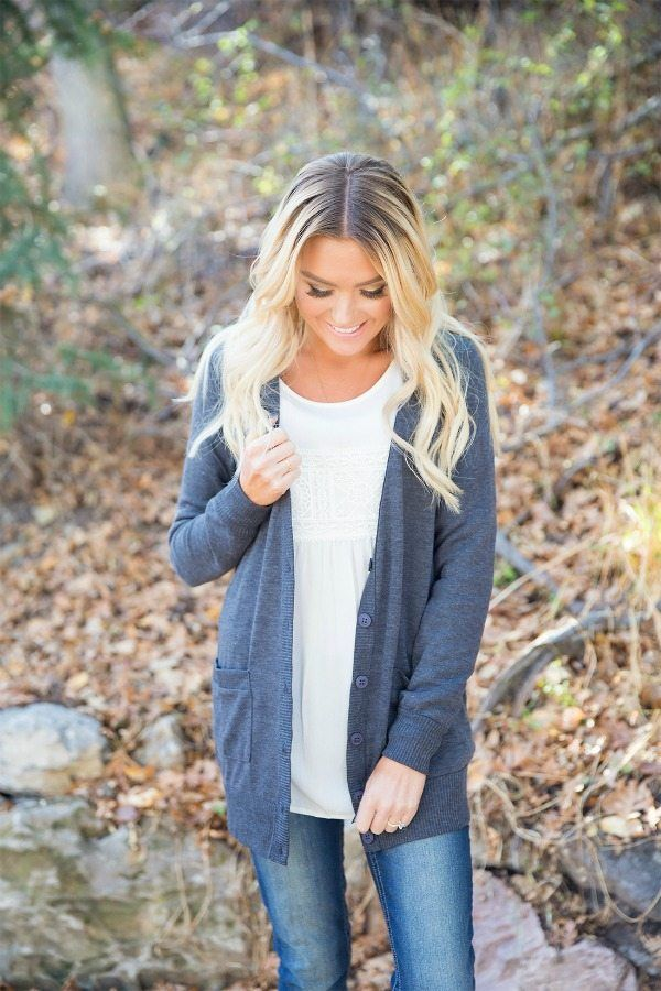 This Charcoal Button Down Boyfriend Cardigan with its super soft material, makes the perfect layering piece for any fall or spring wear. || Bella Ella Boutique