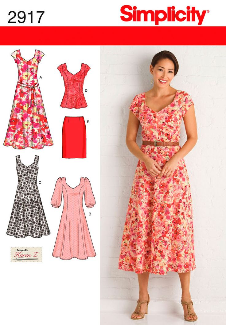 Misses or Plus Size Dresses sewing pattern 2917 Simplicity: