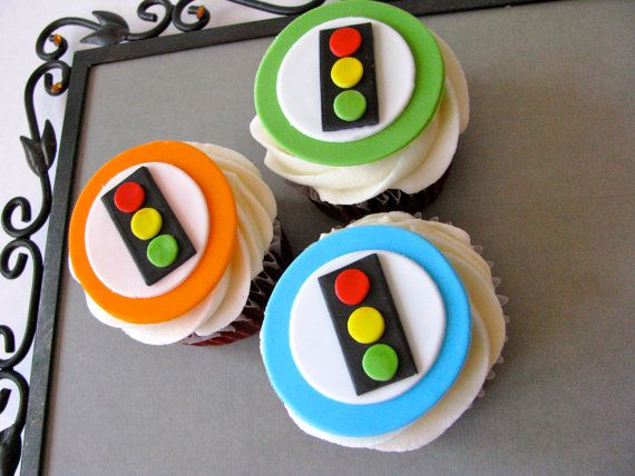 Love these cupcake toppers for a car birthday party