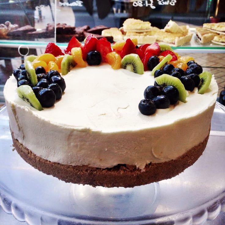 Homemade summer fruit cheesecake