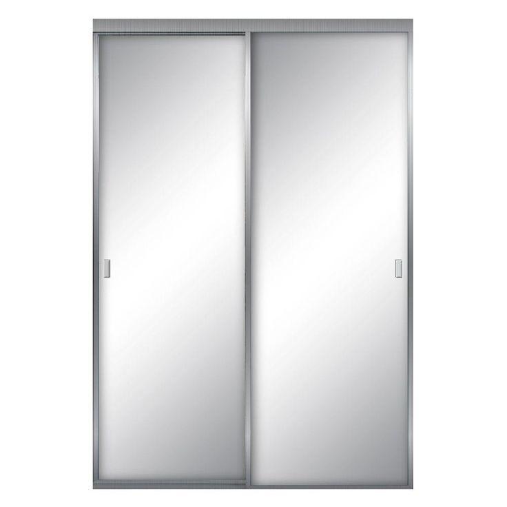 null 60 in. x 80 in. Aurora Aluminum Brushed Nickel Mirrored Sliding Door