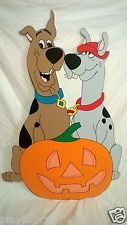 SCOOBY DOO AND SCOOBY DUM WITH PUMPKIN HALLOWEEN YARD ART DECORATION..