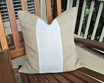 Modern and Rustic Burlap Pillow Cover Lumbar up to Euro Neutral Pillow Cover Beige and Ivory Throw Pillows Two Toned Pillow Covers