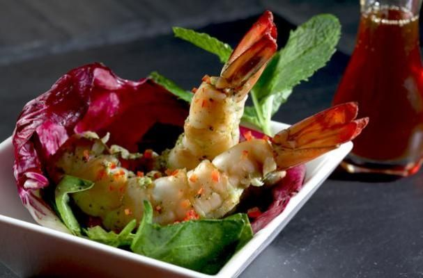 Shrimps Mojito Tapas with Honey Red Pepper Mint Dressing Saladette