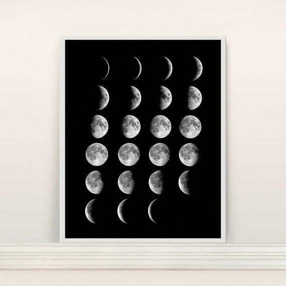 Moon Phases Poster - Moon Art - Moon Poster - Moon - Outer Space - Telescope…                                                                                                                                                                                 More