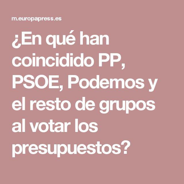 ¿En qué han coincidido PP, PSOE, Podemos y el resto de grupos al votar los presupuestos?