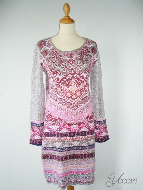 Kooi knit dress pink and gray