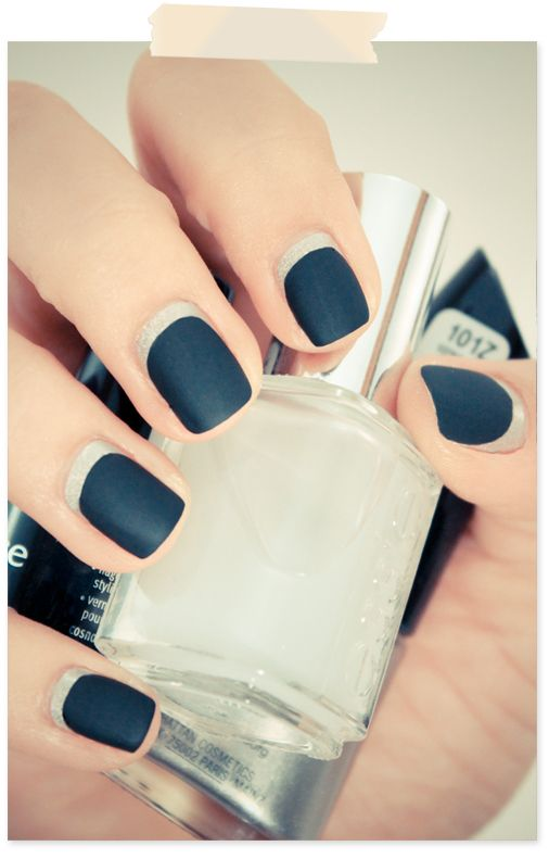 White Based Black Matte Nails