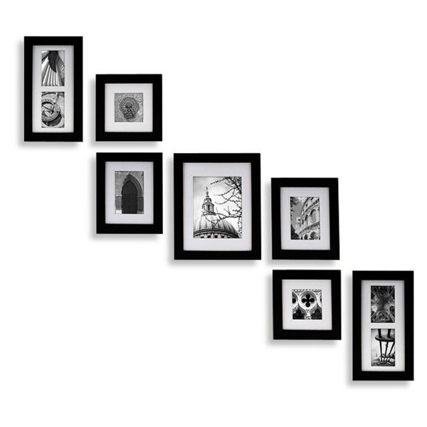 Create-a-Gallery Portrait 7-Piece Wood Frame Set Black (69 SGD) ❤ liked on Polyvore featuring home, home decor, fillers, decor, backgrounds, frames, interior, borders, picture frame and wooden home decor