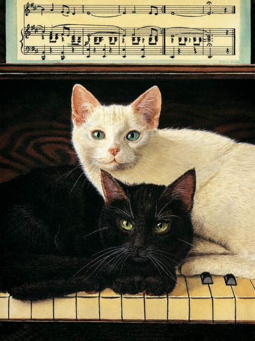 """The name of the painting is """"Ebony and Ivory"""".  I have had a coffee mug with this photo on it for years--it is all faded and worn but I cannot give it up.  My hubby gave it to me and sure would love another one exactly like it!"""