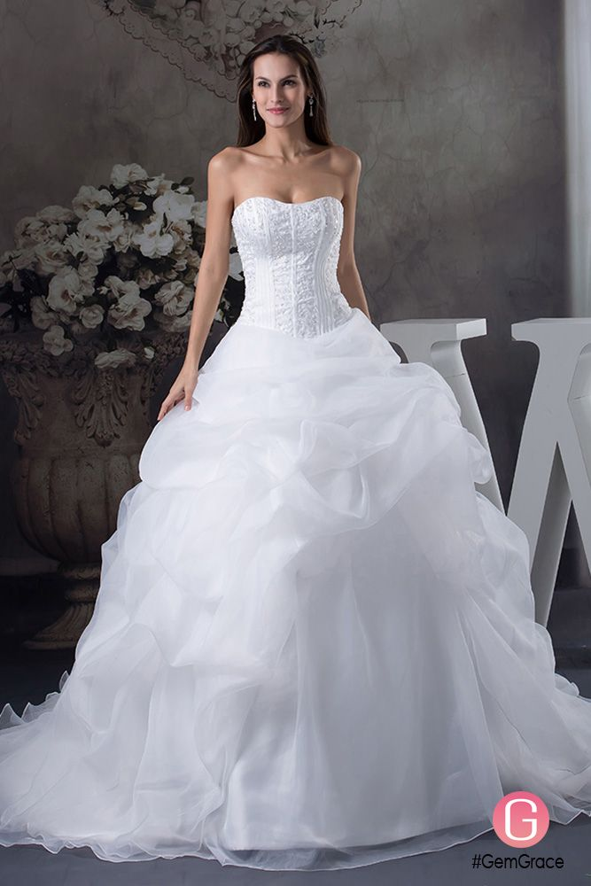 Only $339.9, Wedding Dresses White Sweetheart Big Ballgown Ruffles Wedding Dress with Train #OPH1262 at #GemGrace. View more special Wedding Dresses now? GemGrace is a solution for those who want to buy delicate gowns with affordable prices, a solution for those who have unique ideas about their gowns. Find out more>>
