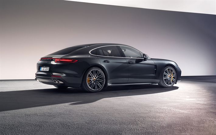 Download wallpapers Porsche Panamera, 2017, 4k, five-door sports fastback, sports car, gray new Panamera, Gran Turismo, Porsche