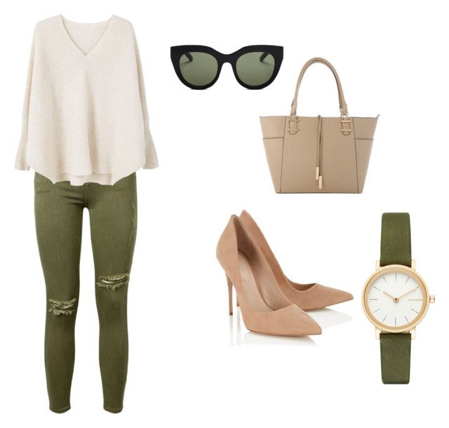 Casual by maffaldacunha on Polyvore featuring MANGO, Current/Elliott, Lipsy, Skagen and Le Specs