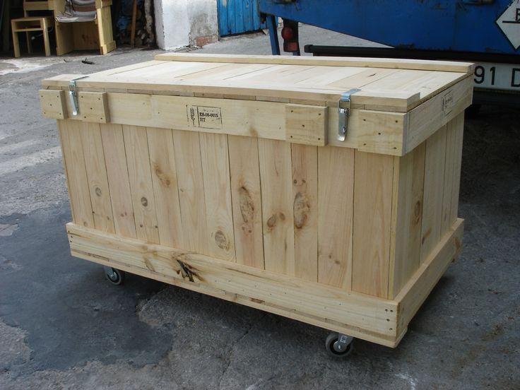 Embalaje de madera con ruedas y cierres met licos tipo - Caja herramientas con ruedas ...