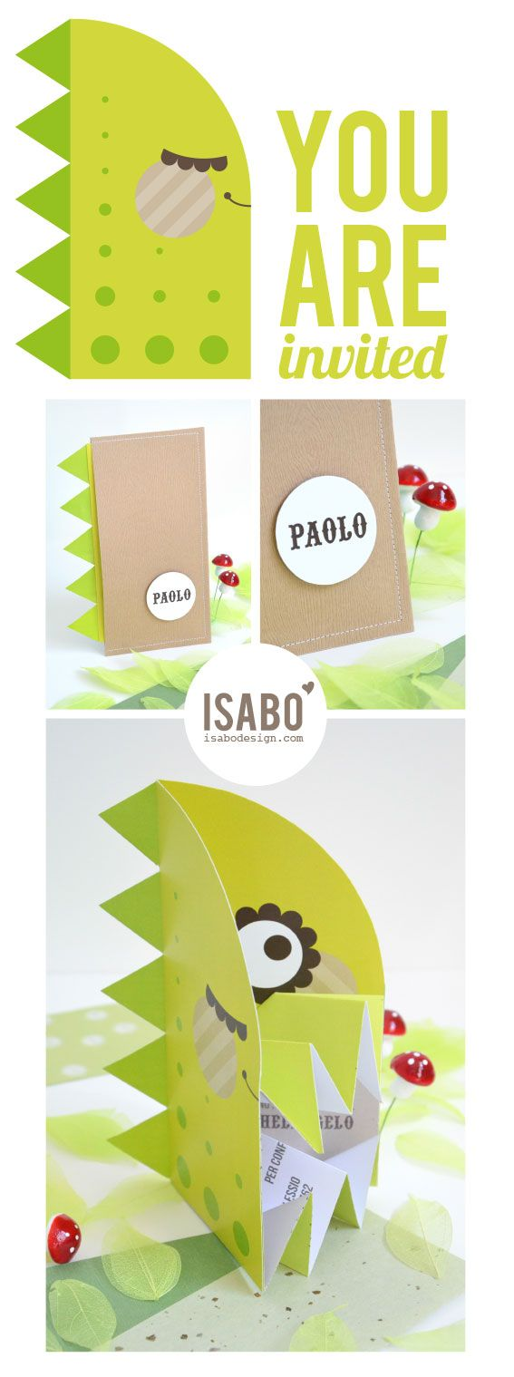 Isabo ★ Color, design & style for a creative life: Party Invitations: dinosaur and elephant. Inviti di compleanno: dinosauro ed elefante.