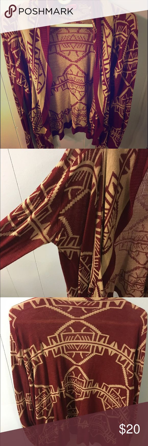 Tribal Sweater✌️ I am in love with this tribal sweater. It's maroon and tan ❤️ Sweaters Cardigans