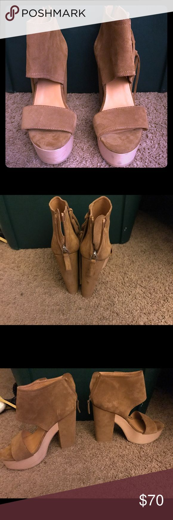 BRAND NEW Suede ,Platform Heels ,RALPH LAUREN‼️‼️ Modern Fringe Suede + Wood Platform Heels , Shoes - Polo Ralph Lauren..... NEVER WORN‼️‼️ Polo by Ralph Lauren Shoes Platforms