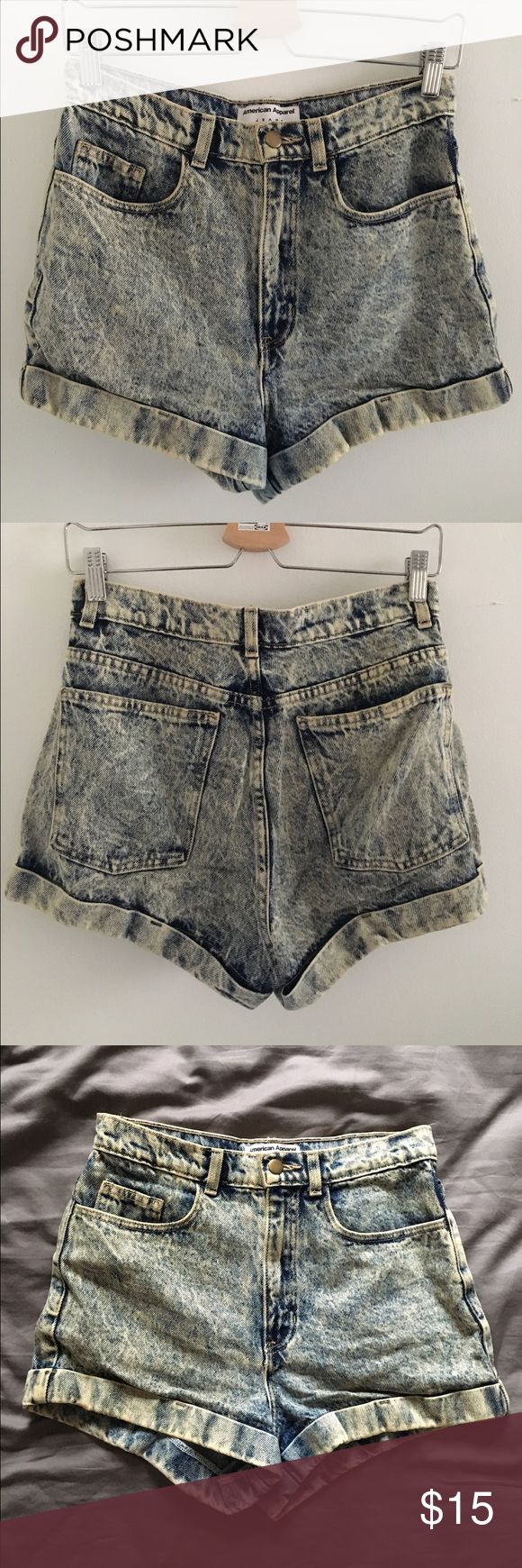 High-waisted acid wash shorts High-waisted acid wash shorts. Great condition. Sizing is equivalent to 4-6 US. American Apparel Shorts Jean Shorts