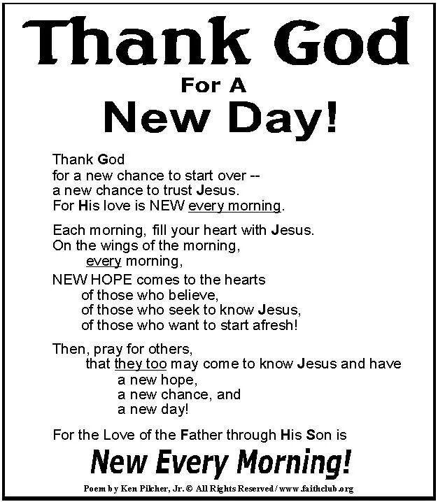 New Day, Prayer