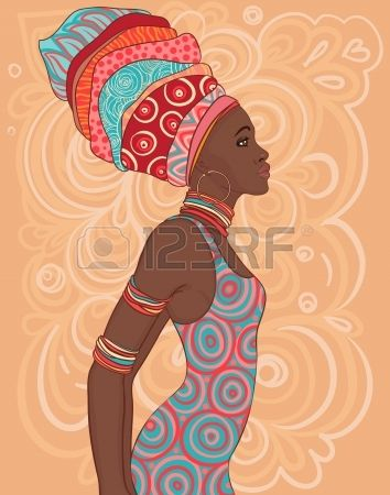 Pretty African American woman in traditional turban.