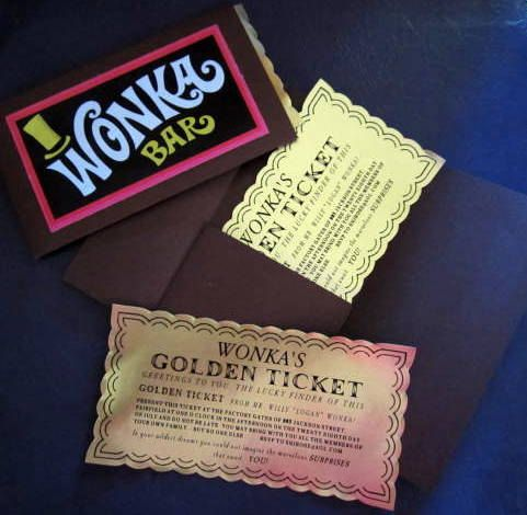 12 Deluxe Willy Wonka Golden Tickets as Birthday Invitations with Folders/Envelopes