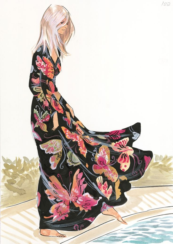 Long Dress with Butterflies #girlillustration / Vestito lungo con Farfalle #disegnoragazza - Artwork by Grant Cowan