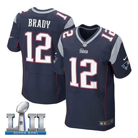 a0036c370 Men s Nike New England Patriots  12 Tom Brady Stitched Navy 2018 Super Bowl  LII Elite Jersey