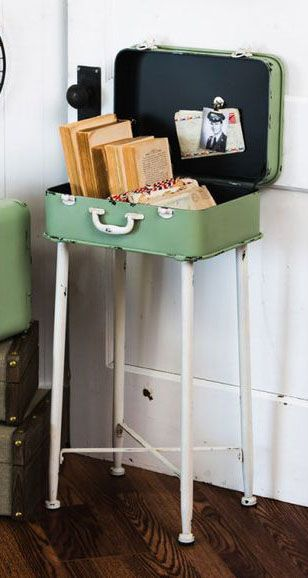 Vintage luggage side table-what a cool idea