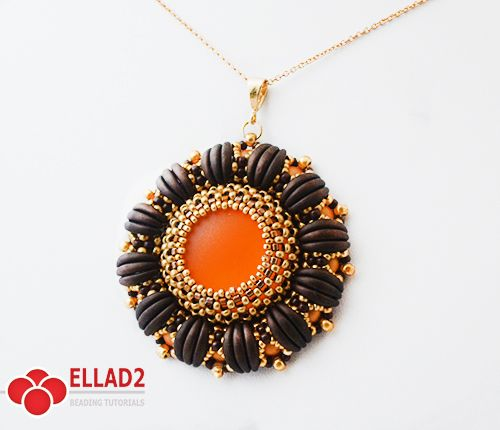 *P Beautiful beadwoven pendant made with 2-hole Cabochons and Crescent 2-hole…